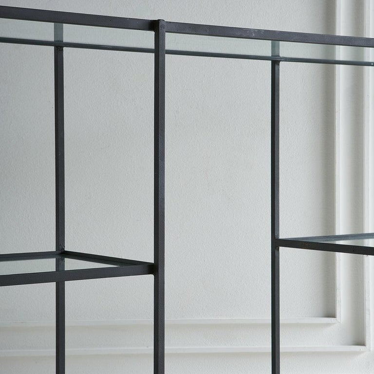 Modern Frederick Weinberg Iron Étagère with Glass Shelves For Sale