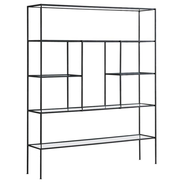 Frederick Weinberg Iron Étagère with Glass Shelves For Sale