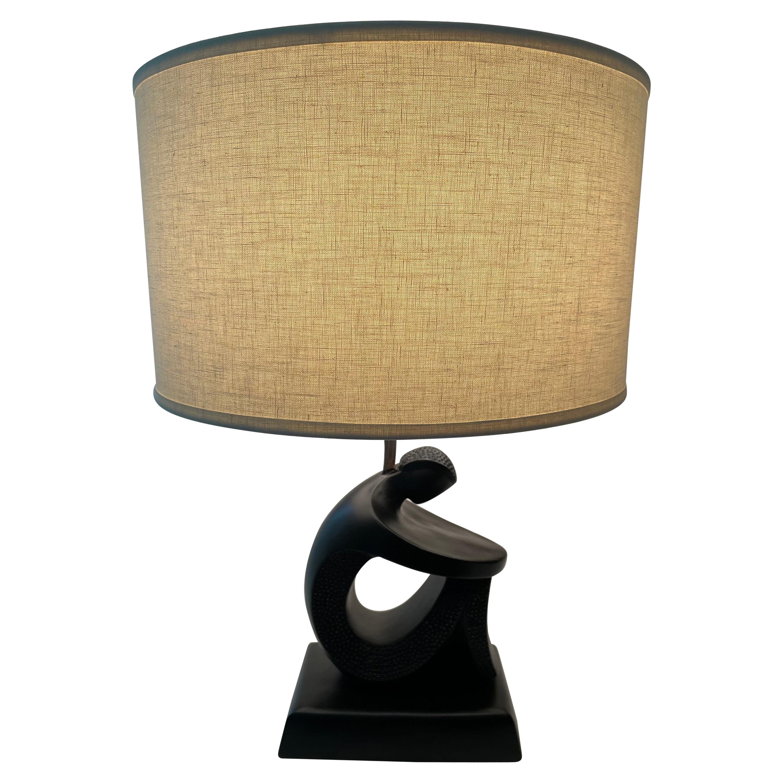 Frederick Weinberg Sculptural Figure Table Lamp in Matte Black, 1950's