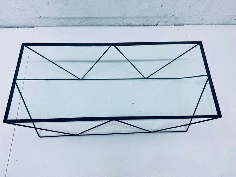 Frederick Weinberg Style Angular Black Wire Coffee Table, 1950s For Sale 4