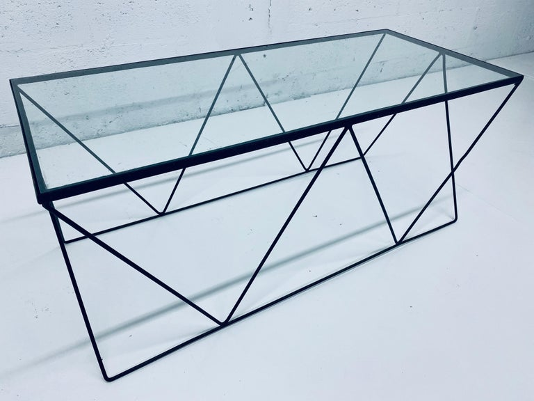 Mid-Century Modern Frederick Weinberg Style Angular Black Wire Coffee Table, 1950s For Sale