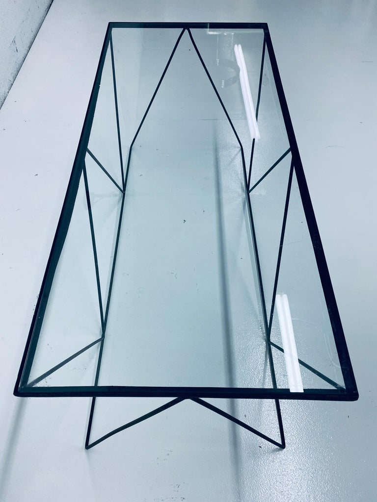 Frederick Weinberg Style Angular Black Wire Coffee Table, 1950s In Good Condition For Sale In Miami, FL