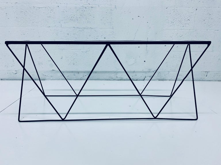 20th Century Frederick Weinberg Style Angular Black Wire Coffee Table, 1950s For Sale