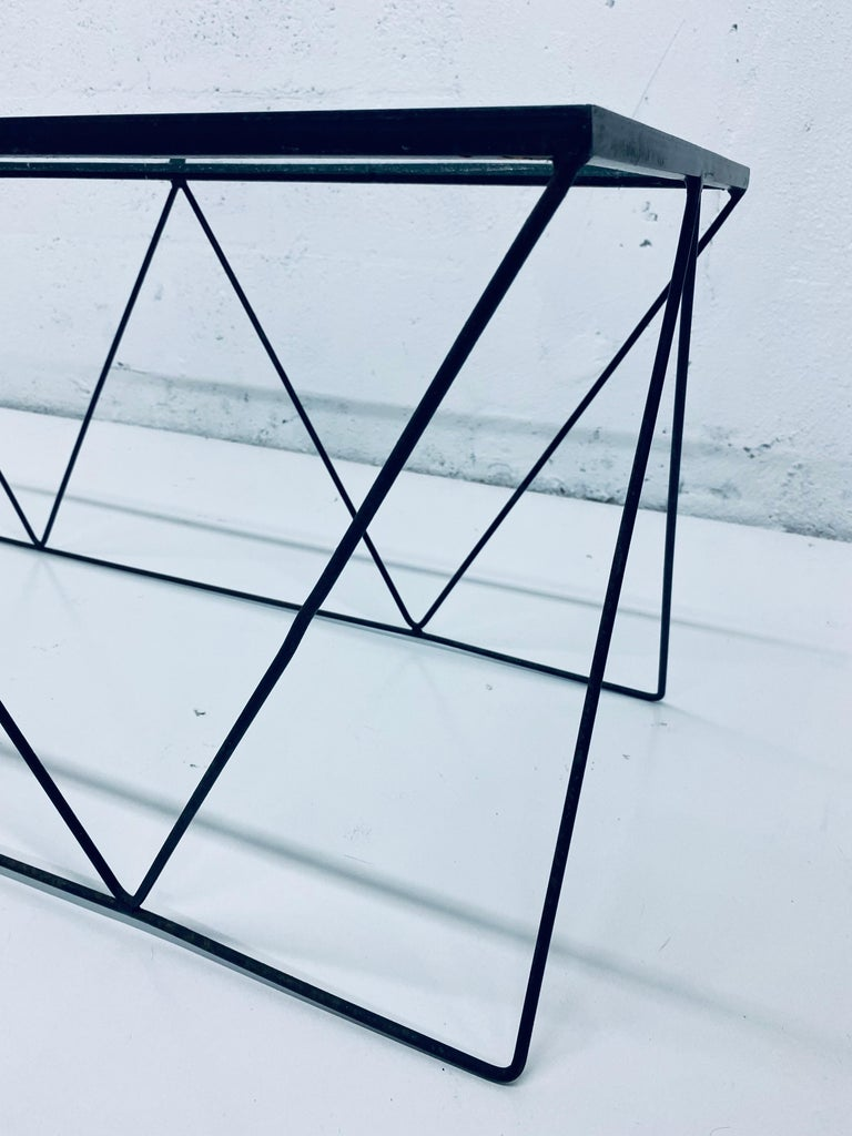Metal Frederick Weinberg Style Angular Black Wire Coffee Table, 1950s For Sale