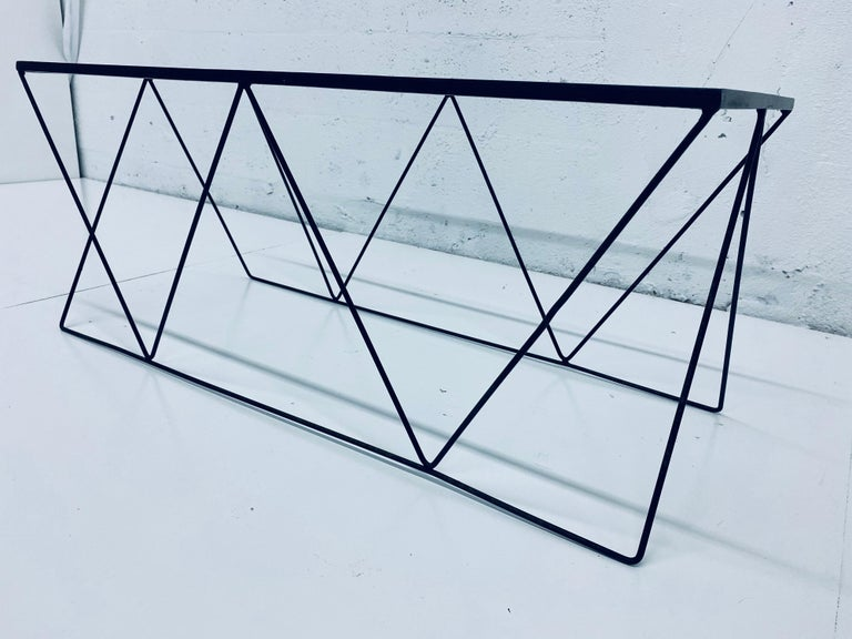 Frederick Weinberg Style Angular Black Wire Coffee Table, 1950s For Sale 1