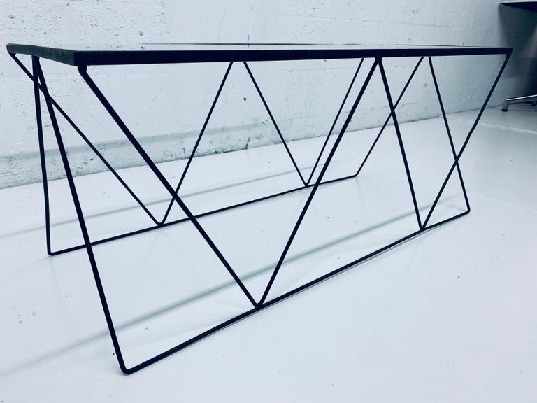 Frederick Weinberg Style Angular Black Wire Coffee Table, 1950s For Sale 2
