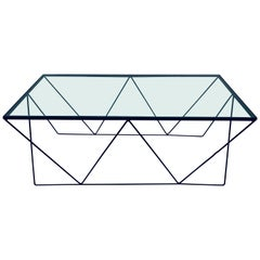 Frederick Weinberg Style Angular Black Wire Coffee Table, 1950s