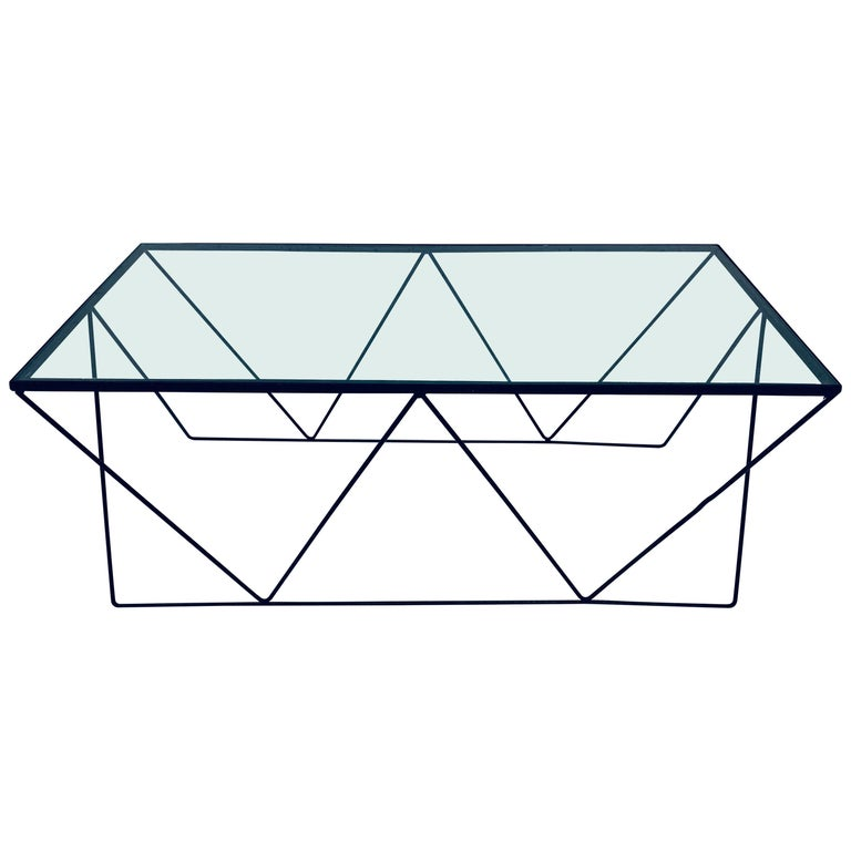 Frederick Weinberg Style Angular Black Wire Coffee Table, 1950s For Sale