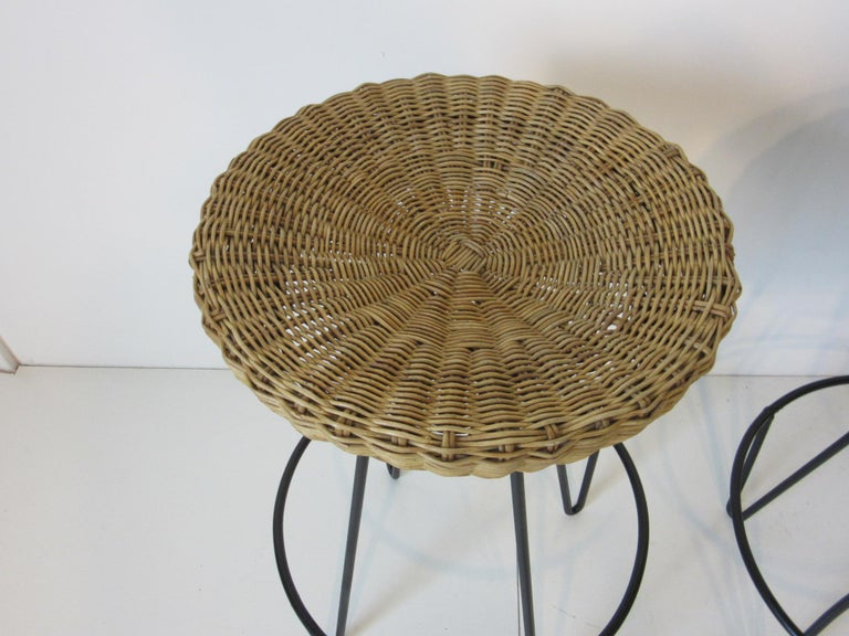 Mid-Century Modern Frederick Weinberg Wicker and Iron Bar Stools For Sale