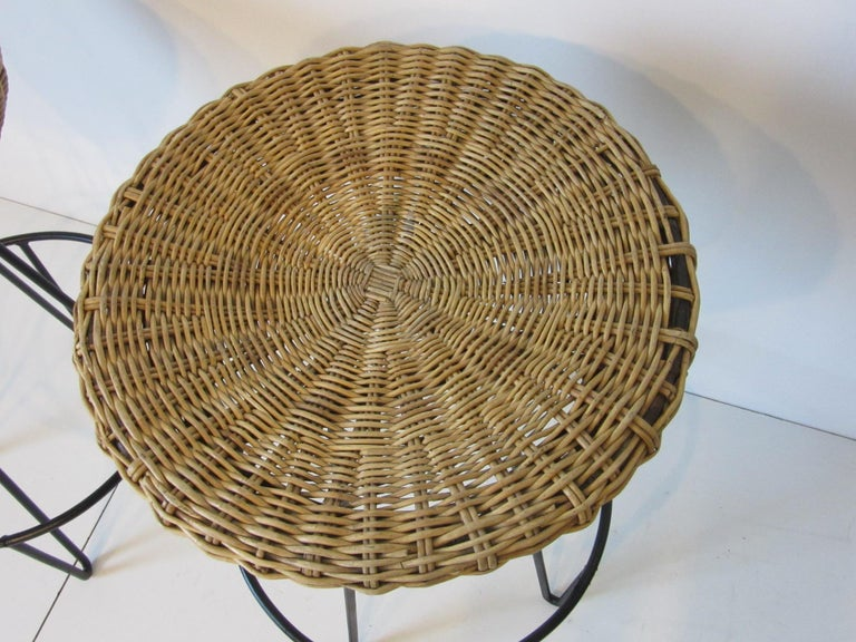 American Frederick Weinberg Wicker and Iron Bar Stools For Sale