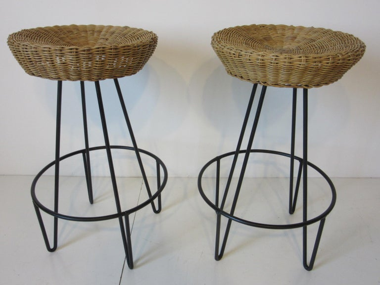 Frederick Weinberg Wicker and Iron Bar Stools In Good Condition For Sale In Cincinnati, OH