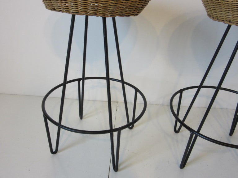 20th Century Frederick Weinberg Wicker and Iron Bar Stools For Sale