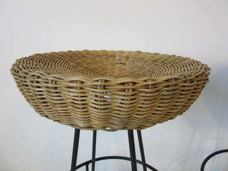 Frederick Weinberg Wicker and Iron Bar Stools For Sale 1