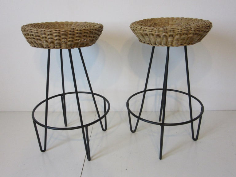 Frederick Weinberg Wicker and Iron Bar Stools For Sale 2