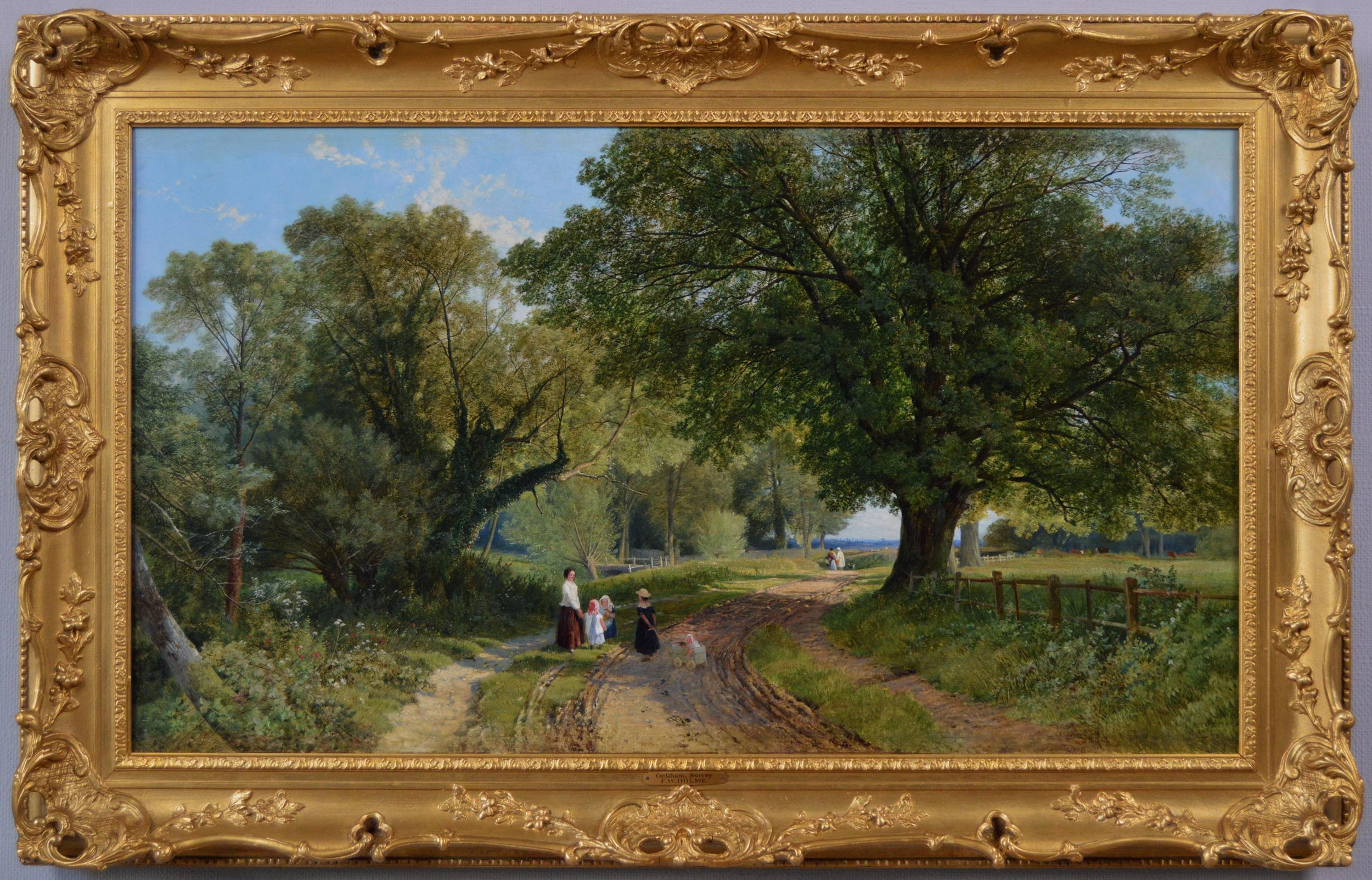 19th Century landscape oil painting of figures in a Surrey lane
