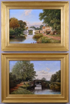 19th Century pair of landscape oil paintings of figures fishing