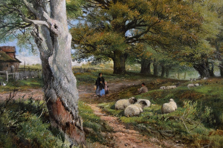 19th Century pair of landscape oil paintings of figures in a lane  - Victorian Painting by Frederick William Hulme