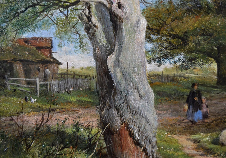 19th Century pair of landscape oil paintings of figures in a lane  - Brown Landscape Painting by Frederick William Hulme