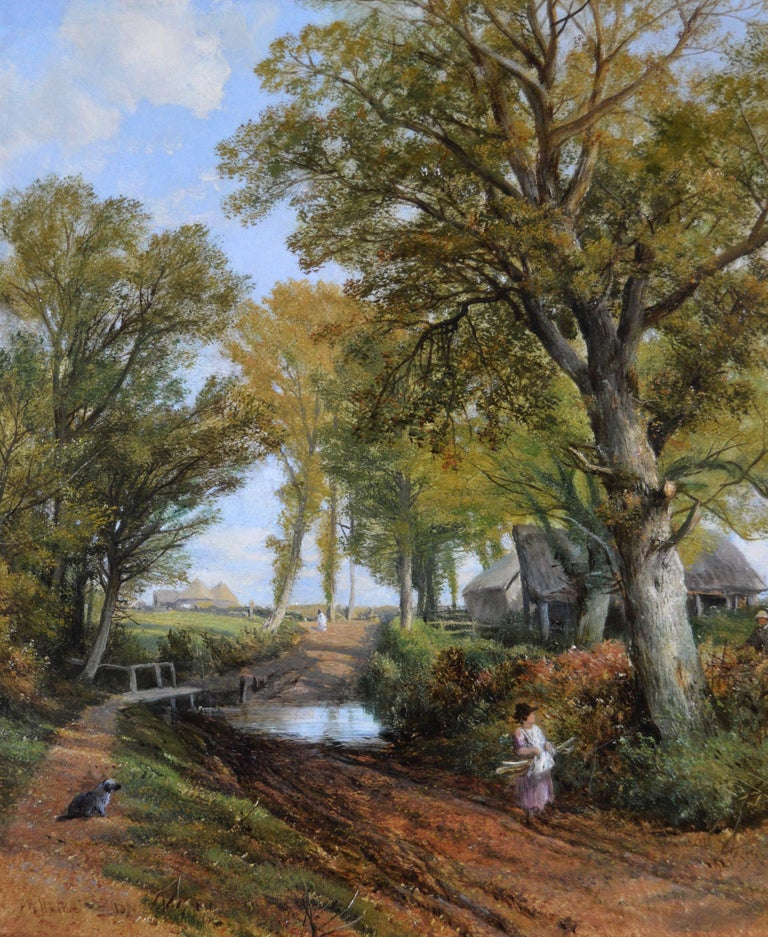 19th Century pair of landscape oil paintings of figures in a lane  For Sale 2