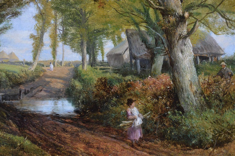 19th Century pair of landscape oil paintings of figures in a lane  For Sale 3
