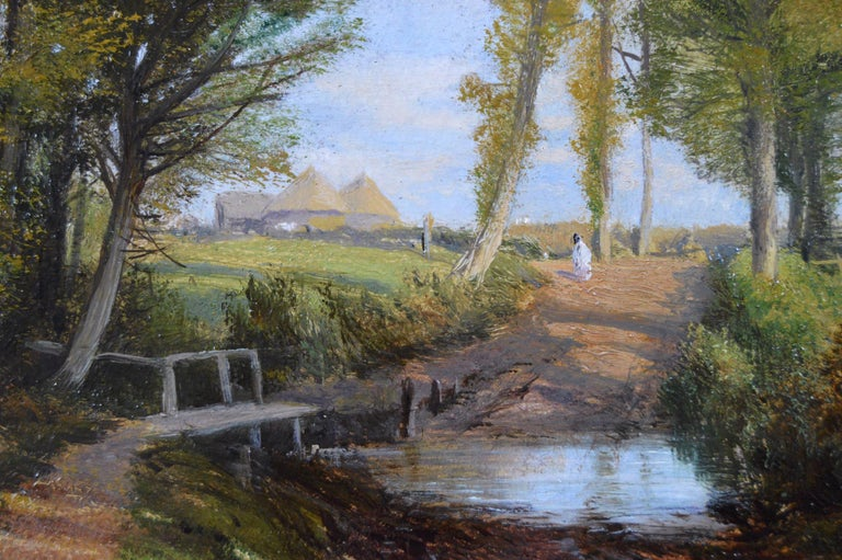 19th Century pair of landscape oil paintings of figures in a lane  For Sale 4