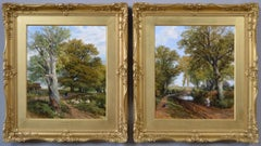 19th Century pair of landscape oil paintings of figures in a lane