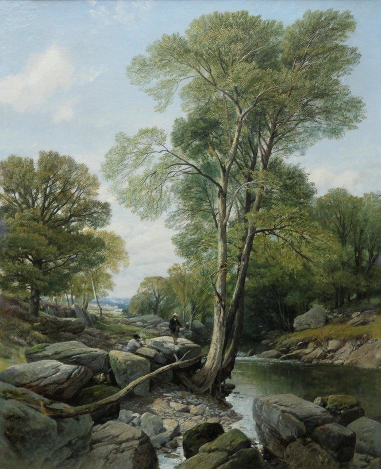 Fishermen in a Rocky River Landscape - British Victorian art oil painting For Sale 1