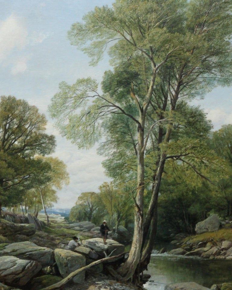 Fishermen in a Rocky River Landscape - British Victorian art oil painting For Sale 2