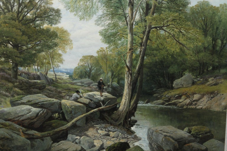 Fishermen in a Rocky River Landscape - British Victorian art oil painting For Sale 3
