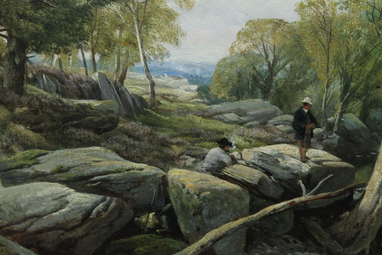 Fishermen in a Rocky River Landscape - British Victorian art oil painting For Sale 5