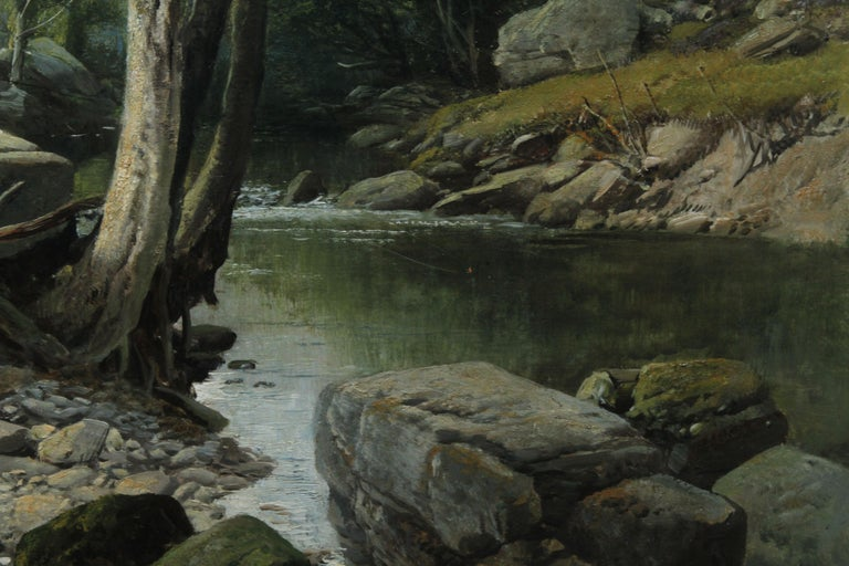 Fishermen in a Rocky River Landscape - British Victorian art oil painting For Sale 6