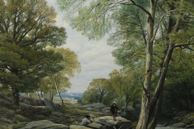 Fishermen in a Rocky River Landscape - British Victorian art oil painting For Sale 7