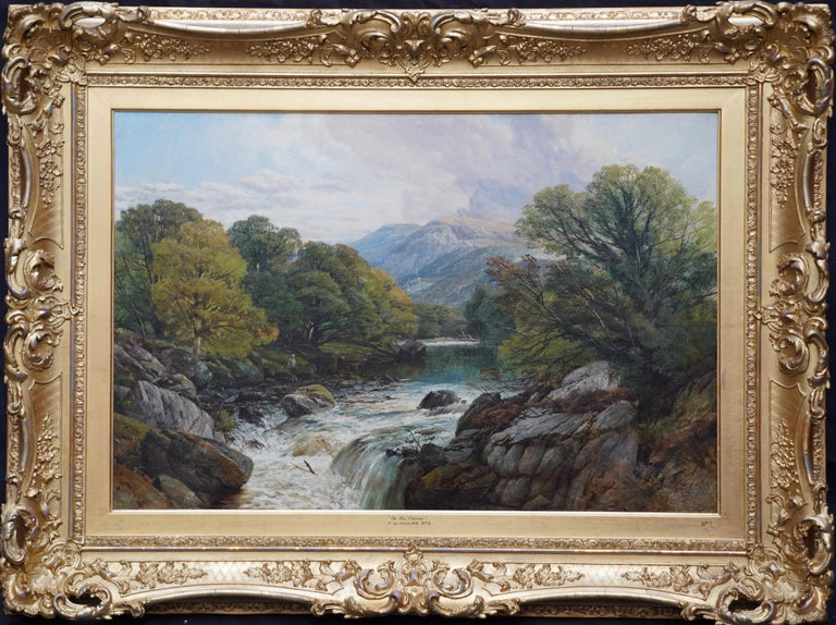 Fishing Conway River Wales - British Victorian art landscape oil painting 7