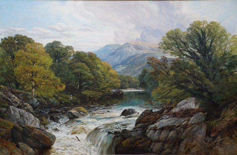 Fishing Conway River Wales - British Victorian art landscape oil painting - Painting by Frederick William Hulme