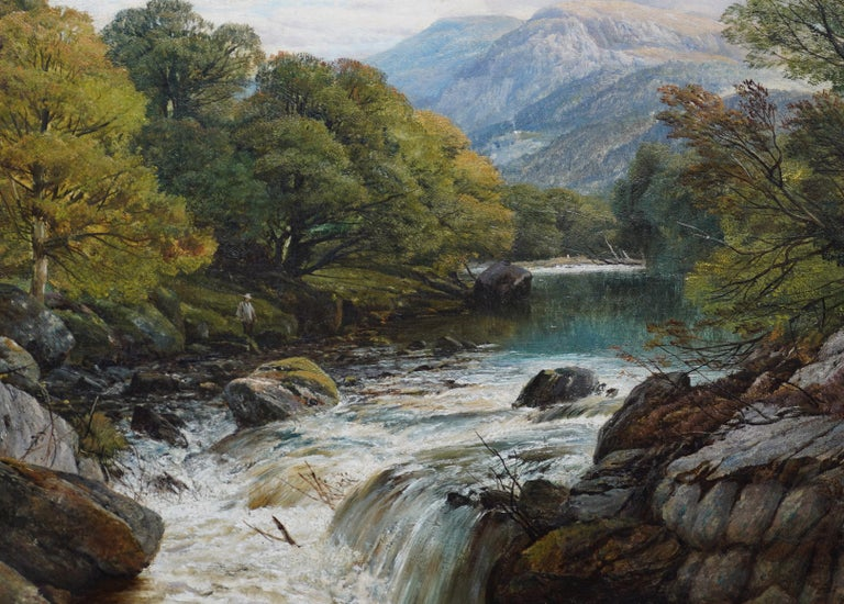 Fishing Conway River Wales - British Victorian art landscape oil painting - Realist Painting by Frederick William Hulme