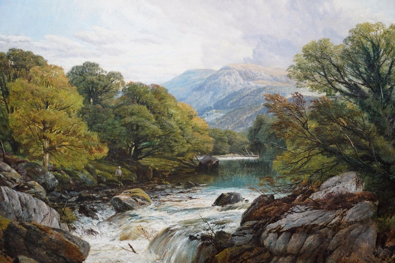 Fishing Conway River Wales - British Victorian art landscape oil painting - Brown Landscape Painting by Frederick William Hulme