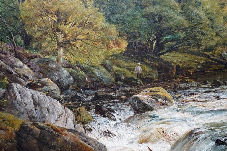 This stunning British Victorian oil painting is by noted landscape artist Frederick William Hulme. Painted in 1873, the location is the beautiful river Conway in north Wales. From its source to its discharge in Conwy Bay it is a little over 27 miles