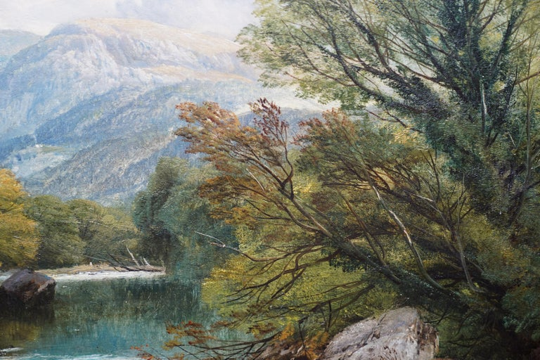Fishing Conway River Wales - British Victorian art landscape oil painting 1