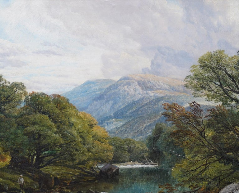 Fishing Conway River Wales - British Victorian art landscape oil painting 2