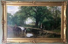 Horses Watering An English Landscape