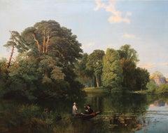 Quiet Retreat Surrey  Punting River British 19C Victorian landscape oil painting