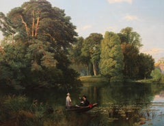 Quiet Retreat Surrey  Punting River British 19C Victorian landscape oil painting
