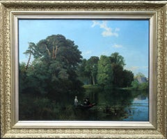 Quiet Retreat Surrey -Punting River British 19C Victorian landscape oil painting