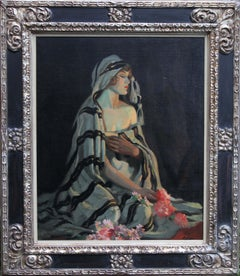 Lost in Thought - Australian art 1920's portrait oil painting woman flowers