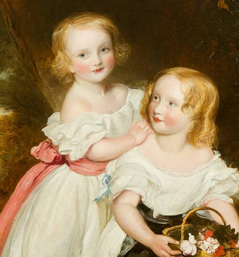 Regency Sisters, A Portrait of Two Children - Fredrick Yeates Hurlestone - Painting by Frederick Yeates Hurlestone