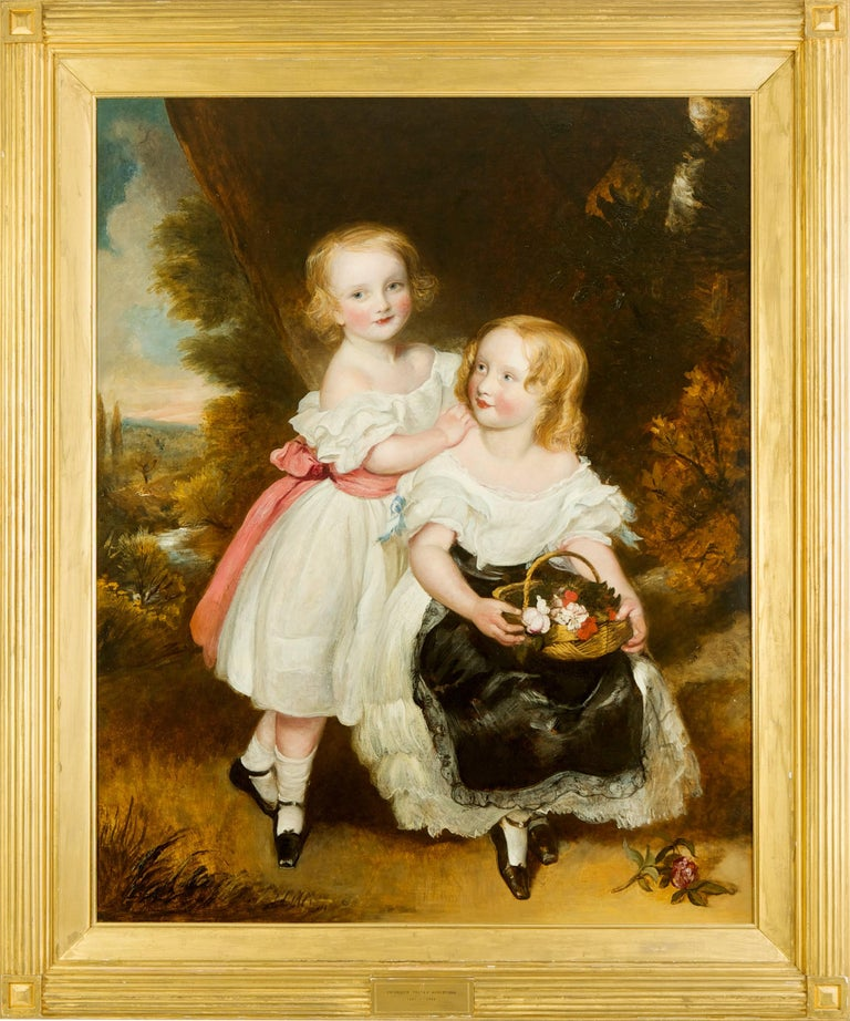 Regency Sisters, A Portrait of Two Children - Fredrick Yeates Hurlestone - Victorian Painting by Frederick Yeates Hurlestone