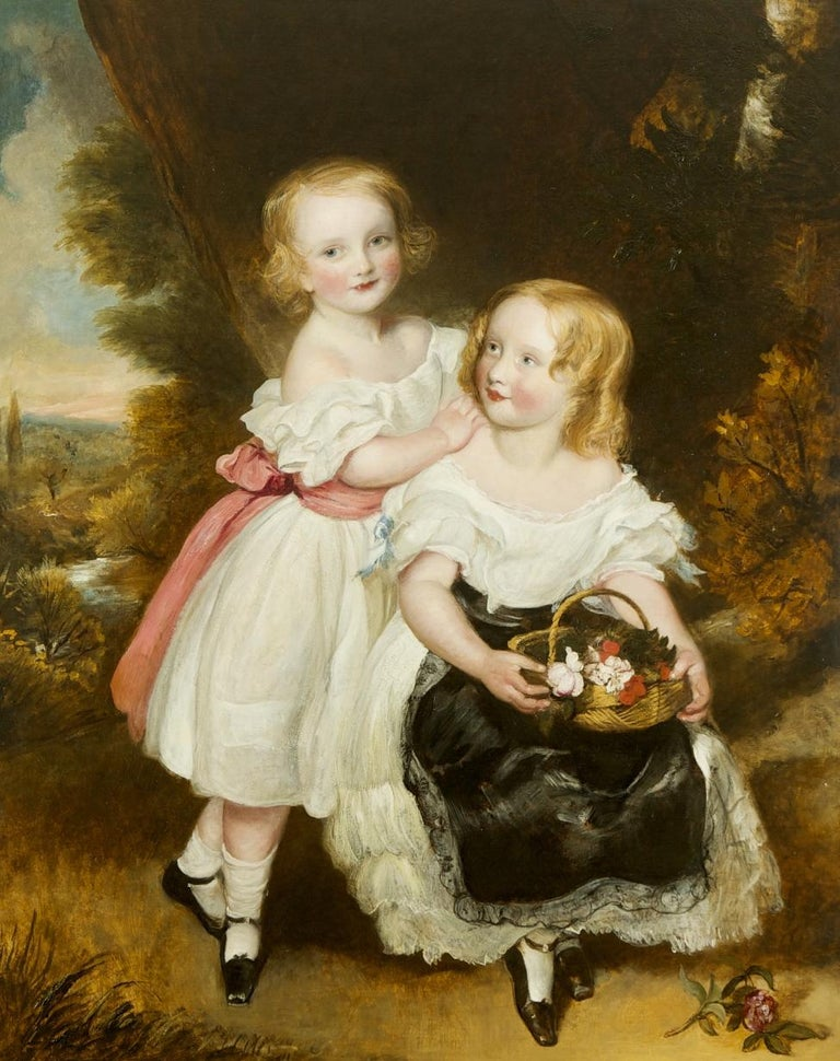 Frederick Yeates Hurlestone  Portrait Painting - Regency Sisters, A Portrait of Two Children - Fredrick Yeates Hurlestone