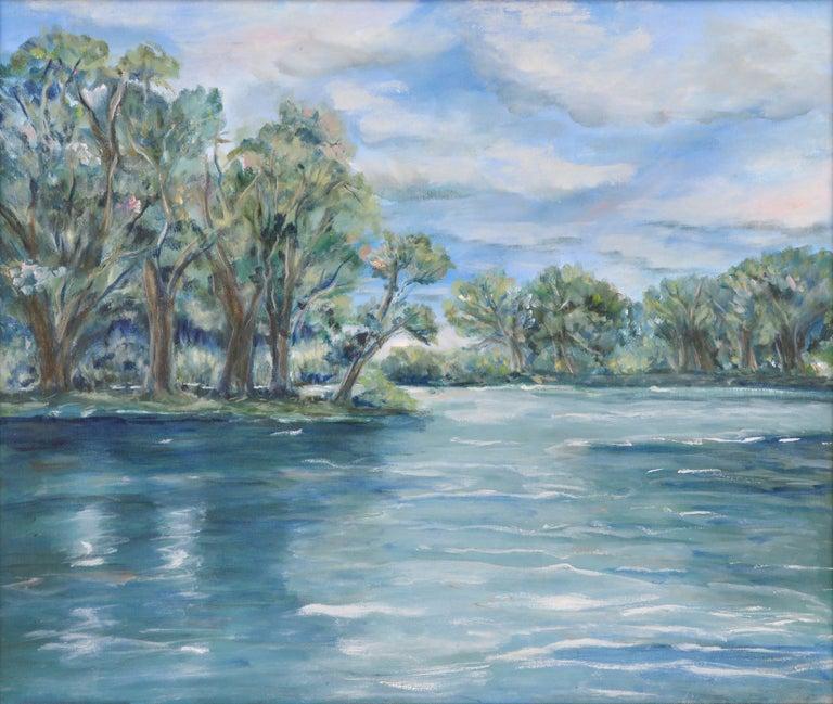Blue Lake Landscape - Painting by Frederico Domondon