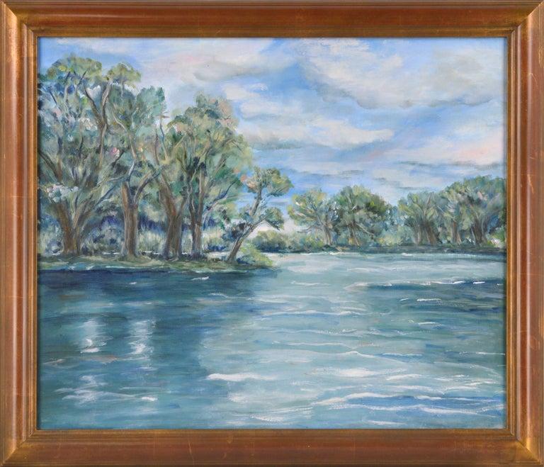 Frederico Domondon Landscape Painting - Blue Lake Landscape