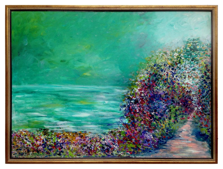 Frederico Domondon Landscape Painting - Floral Arch and Green Lake Landscape